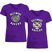 New Era Apparel Girl's Baltimore Ravens Sequins Heart Purple T-Shirt