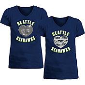 New Era Apparel Girl's Seattle Seahawks Sequins Heart Navy T-Shirt