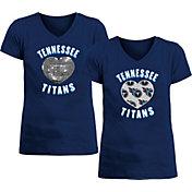 New Era Apparel Girl's Tennessee Titans Sequins Heart Navy T-Shirt