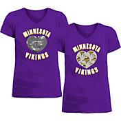 New Era Apparel Girl's Minnesota Vikings Sequins Heart Purple T-Shirt