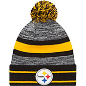 New Era Men's Pittsburgh Steelers Cuffed Pom Black Knit