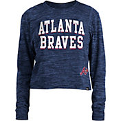New Era Women's Atlanta Braves Blue Cropped Long Sleeve T-Shirt