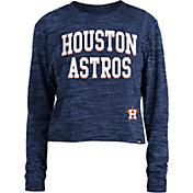 New Era Women's Houston Astros Blue Cropped Long Sleeve T-Shirt