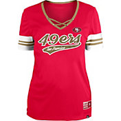 New Era Women's San Francisco 49ers Red Lace-Up V-Neck T-Shirt