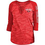 New Era Women's San Francisco 49ers Space Dye Lace Red Raglan Shirt
