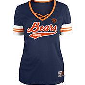 New Era Women's Chicago Bears Navy Lace-Up V-Neck T-Shirt