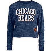 New Era Women's Chicago Bears Space Dye Navy Long Sleeve Crop Top T-Shirt