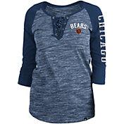 New Era Women's Chicago Bears Space Dye Lace Navy Plus Size Raglan T-Shirt