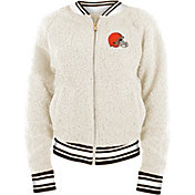 New Era Women's Cleveland Browns Sherpa White Full-Zip Jacket