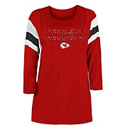 New Era Women's Kansas City Chiefs Foil Slub Red Three-Quarter Sleeve T-Shirt