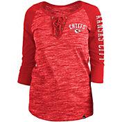 New Era Women's Kansas City Chiefs Space Dye Lace Red Plus Size Raglan T-Shirt