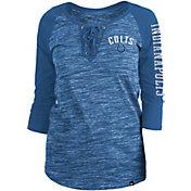 New Era Women's Indianapolis Colts Space Dye Lace Blue Raglan Shirt