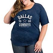 New Era Women's Dallas Cowboys Mineral Navy Plus Size T-Shirt
