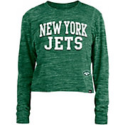 New Era Women's New York Jets Space Dye Green Long Sleeve Crop Top T-Shirt