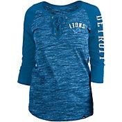 New Era Women's Detroit Lions Space Dye Lace Blue Raglan Shirt