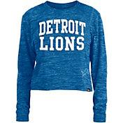 New Era Women's Detroit Lions Space Dye Blue Long Sleeve Crop Top T-Shirt