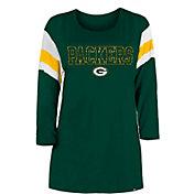 New Era Women's Green Bay Packers Foil Slub Green Three-Quarter Sleeve T-Shirt