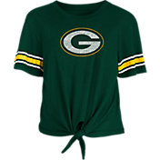 New Era Women's Green Bay Packers Front Tie Green T-Shirt