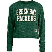 New Era Women's Green Bay Packers Space Dye Green Long Sleeve Crop Top T-Shirt