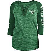 New Era Women's Green Bay Packers Space Dye Lace Green Plus Size Raglan T-Shirt