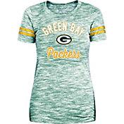 New Era Women's Green Bay Packers Space Dye Glitter Green T-Shirt
