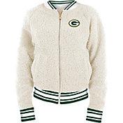 New Era Women's Green Bay Packers Sherpa White Full-Zip Jacket