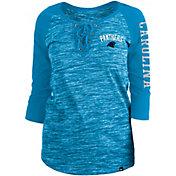 New Era Women's Carolina Panthers Space Dye Lace Blue Raglan Shirt