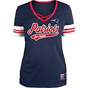 New Era Women's New England Patriots Navy Lace-Up V-Neck T-Shirt