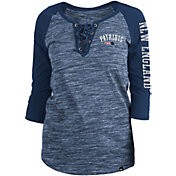 New Era Women's New England Patriots Space Dye Lace Navy Raglan Shirt