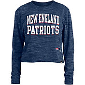 New Era Women's New England Patriots Space Dye Navy Long Sleeve Crop Top T-Shirt