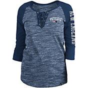 New Era Women's New England Patriots Space Dye Lace Navy Plus Size Raglan T-Shirt