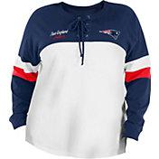 New Era Women's New England Patriots Lace White Plus Size Long Sleeve T-Shirt