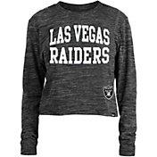 New Era Women's Las Vegas Raiders Space Dye Black Long Sleeve Crop Top T-Shirt