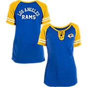 New Era Women's Los Angeles Rams Lace Up Raglan Royal Short-Sleeve T-Shirt