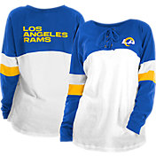 New Era Women's Los Angeles Rams Lace Up Raglan Royal Long Sleeve T-Shirt