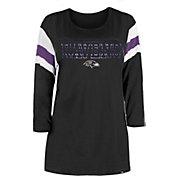 New Era Women's Baltimore Ravens Foil Slub Black Three-Quarter Sleeve T-Shirt