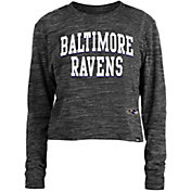 New Era Women's Baltimore Ravens Space Dye Black Long Sleeve Crop Top T-Shirt