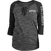 New Era Women's Baltimore Ravens Space Dye Lace Black Plus Size Raglan T-Shirt