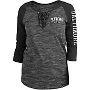 New Era Women's Baltimore Ravens Space Dye Lace Black Raglan Shirt