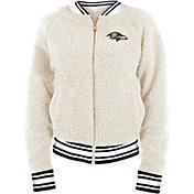 New Era Women's Baltimore Ravens Sherpa White Full-Zip Jacket