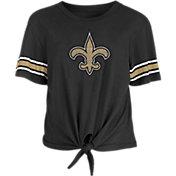 New Era Women's New Orleans Saints Front Tie Black T-Shirt