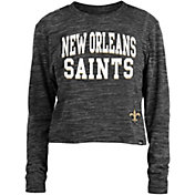 New Era Women's New Orleans Saints Space Dye Black Long Sleeve Crop Top T-Shirt