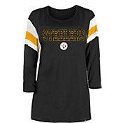 New Era Women's Pittsburgh Steelers Foil Slub Black Three-Quarter Sleeve T-Shirt