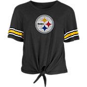 New Era Women's Pittsburgh Steelers Front Tie Black T-Shirt
