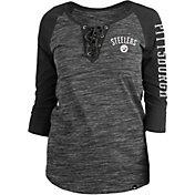 New Era Women's Pittsburgh Steelers Space Dye Lace Black Raglan Shirt