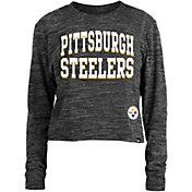 New Era Women's Pittsburgh Steelers Space Dye Black Long Sleeve Crop Top T-Shirt