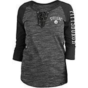 New Era Women's Pittsburgh Steelers Space Dye Lace Black Plus Size Raglan T-Shirt