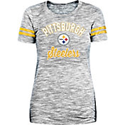 New Era Women's Pittsburgh Steelers Space Dye Glitter Black T-Shirt