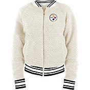 New Era Women's Pittsburgh Steelers Sherpa White Full-Zip Jacket
