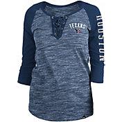 New Era Women's Houston Texans Space Dye Lace Navy Raglan Shirt